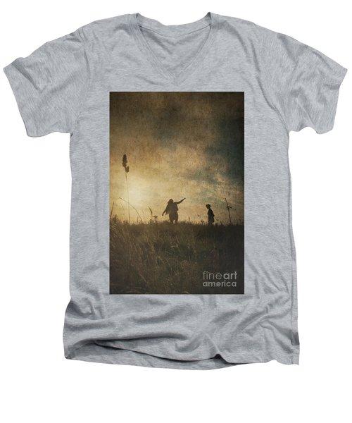 Children Playing Men's V-Neck T-Shirt