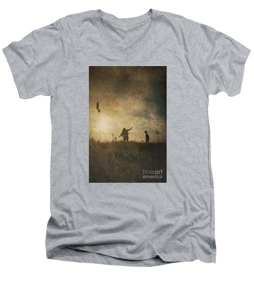 Children Playing Men's V-Neck T-Shirt