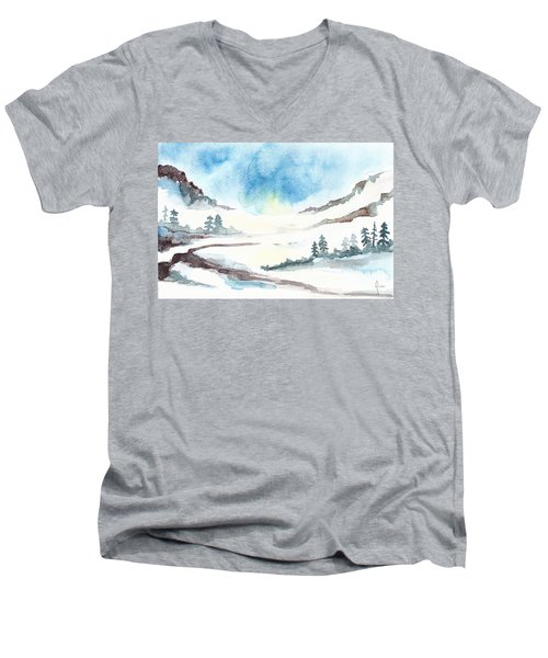 Children's Book Illustration Of Mountains Men's V-Neck T-Shirt