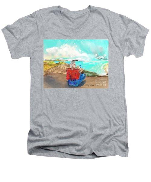 Chillin' Caricature Joe Men's V-Neck T-Shirt
