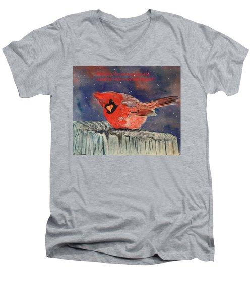 Chilly Bird Christmas Card Men's V-Neck T-Shirt