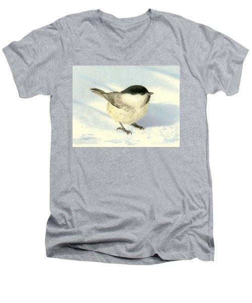 Chilly Chickadee Men's V-Neck T-Shirt by Sarah Batalka