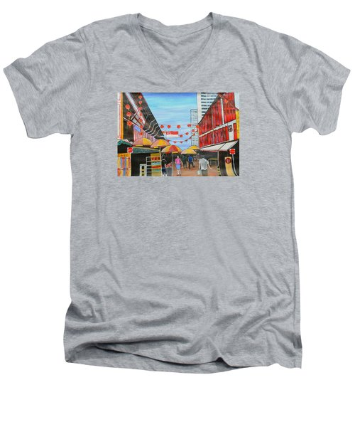 China Town Singaporesg50 Men's V-Neck T-Shirt
