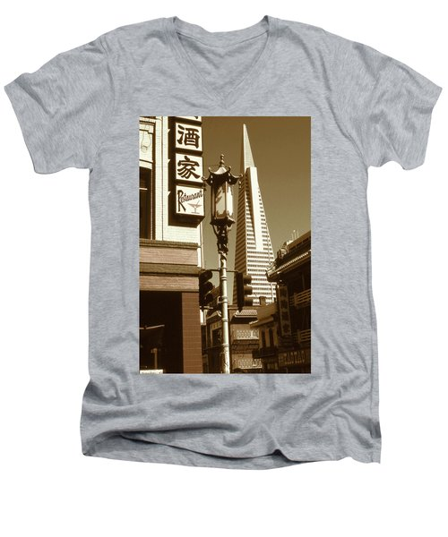 Chinatown San Francisco - Vintage Photo Art Men's V-Neck T-Shirt