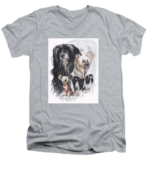 Chinese Crested And Powderpuff W/ghost Men's V-Neck T-Shirt by Barbara Keith