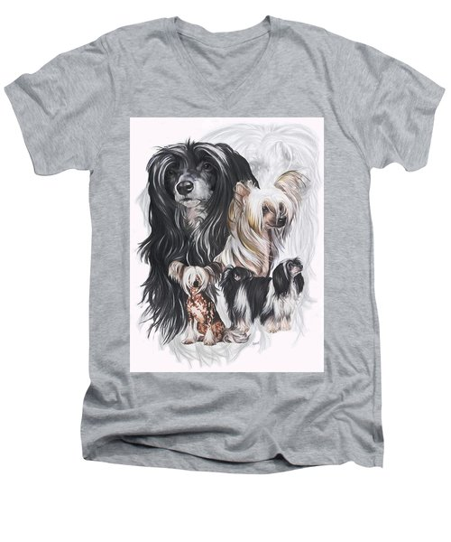 Chinese Crested And Powderpuff Medley Men's V-Neck T-Shirt