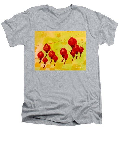 Chinese Lanterns Men's V-Neck T-Shirt