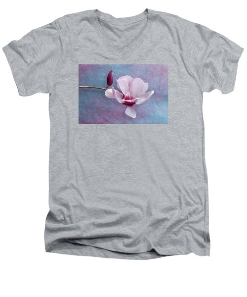 Chinese Magnolia Flower With Bud Men's V-Neck T-Shirt