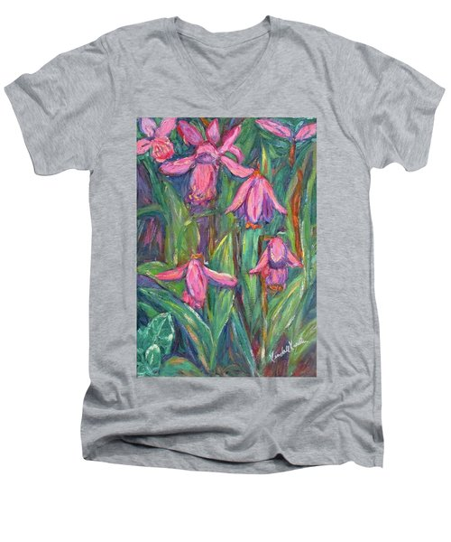 Men's V-Neck T-Shirt featuring the painting Chinese Orchids by Kendall Kessler
