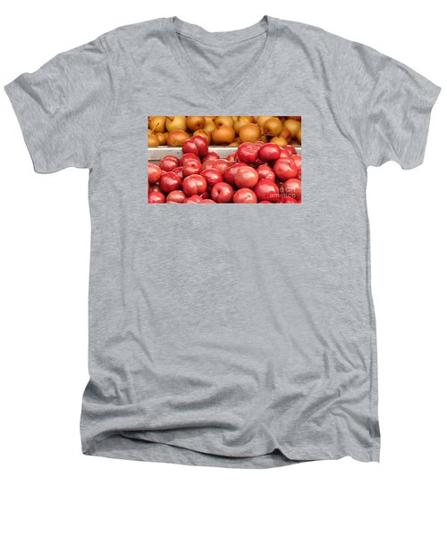 Chinese Plums And Pears Pickled In Sugar Men's V-Neck T-Shirt by Yali Shi