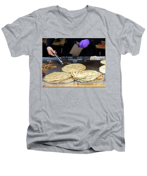 Men's V-Neck T-Shirt featuring the photograph Chinese Street Vendor Cooks Onion Pancakes by Yali Shi