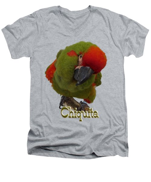 Chiquita, A Red-front Macaw Men's V-Neck T-Shirt by Zazu's House Parrot Sanctuary