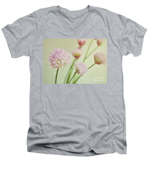 Men's V-Neck T-Shirt featuring the photograph Chives In Flower by Lyn Randle