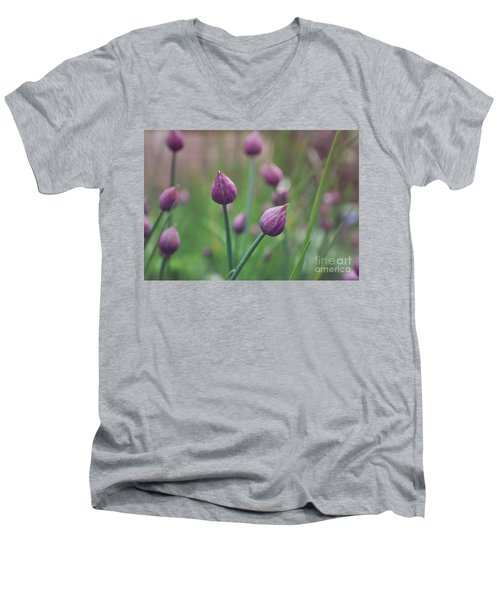 Men's V-Neck T-Shirt featuring the photograph Chives by Lyn Randle