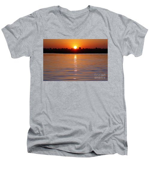 Men's V-Neck T-Shirt featuring the photograph Chobe River Sunset by Myrna Bradshaw