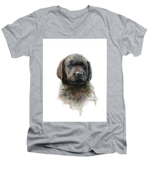 Chocolate Lab Puppy Men's V-Neck T-Shirt