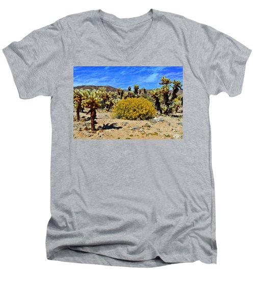 Cholla Garden Of Joshua Tree National Park Men's V-Neck T-Shirt by Glenn McCarthy Art and Photography