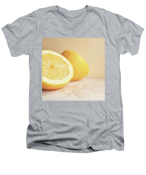 Men's V-Neck T-Shirt featuring the photograph Chopped Lemon by Lyn Randle