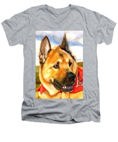 Men's V-Neck T-Shirt featuring the painting Chow Shepherd Mix by Marilyn Jacobson