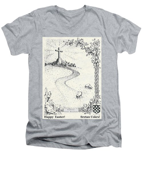 Men's V-Neck T-Shirt featuring the photograph Christ Is Risen  by Christina Verdgeline