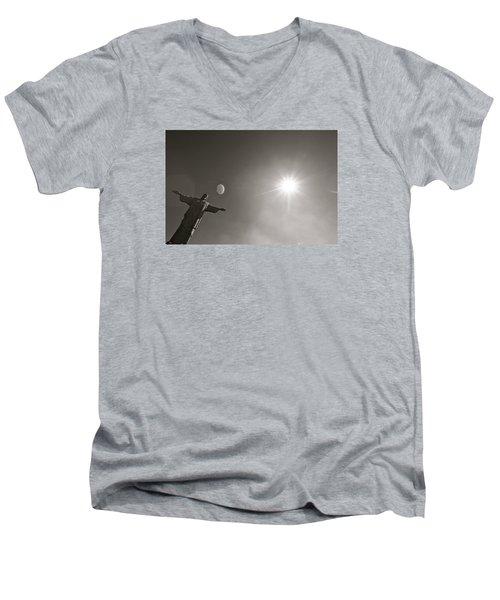 Christ The Redeemer Men's V-Neck T-Shirt by Mark Nowoslawski