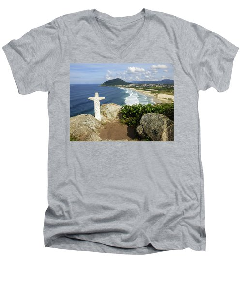 Christ Viewpoint At A Beach In Florianopolis, Brazil Men's V-Neck T-Shirt