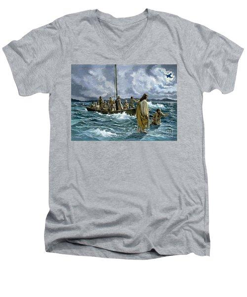 Christ Walking On The Sea Of Galilee Men's V-Neck T-Shirt