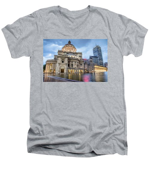 Men's V-Neck T-Shirt featuring the photograph Christian Science Center In Boston by Peter Ciro