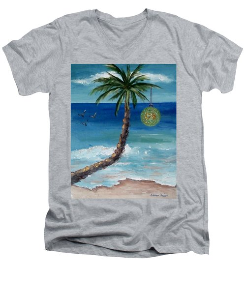 Men's V-Neck T-Shirt featuring the painting Christmas 2008 by Jamie Frier