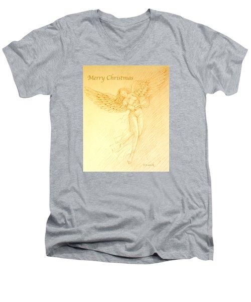 Christmas Angel With Harp Men's V-Neck T-Shirt by Deborah Dendler