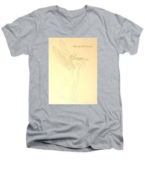 Christmas Angel With Violin Men's V-Neck T-Shirt by Deborah Dendler