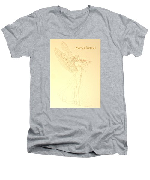 Christmas Angel With Violin Men's V-Neck T-Shirt