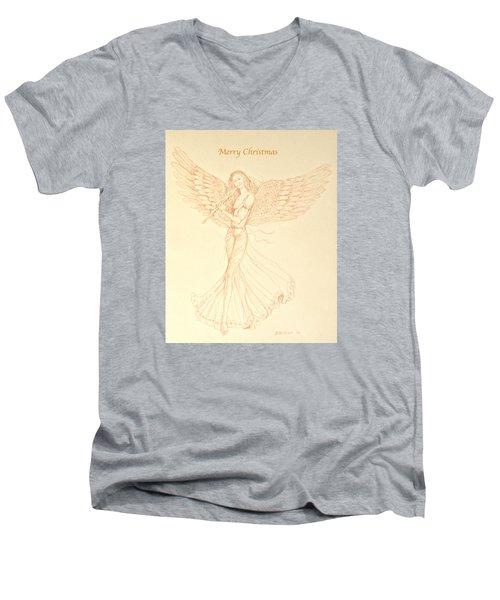 Christmas Angerl With Flute Men's V-Neck T-Shirt by Deborah Dendler