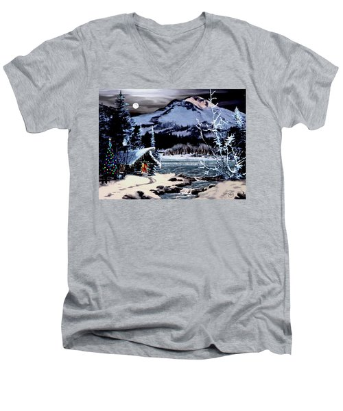 Christmas At The Lake V2 Men's V-Neck T-Shirt by Ron Chambers