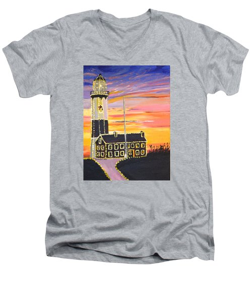 Christmas At The Lighthouse Men's V-Neck T-Shirt