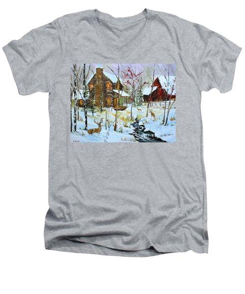Christmas Cabin Men's V-Neck T-Shirt