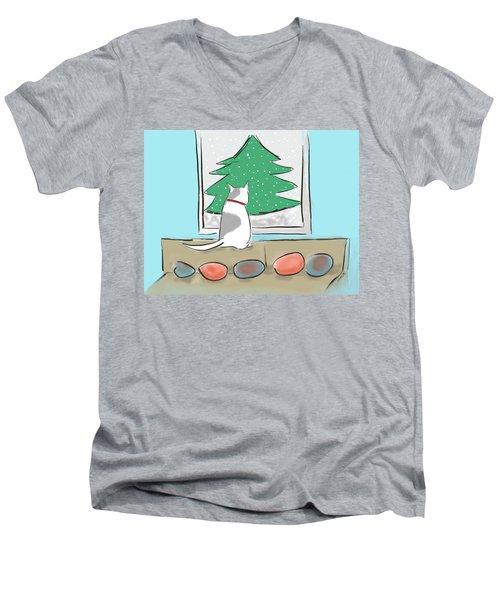 Christmas Cat Men's V-Neck T-Shirt by Haleh Mahbod