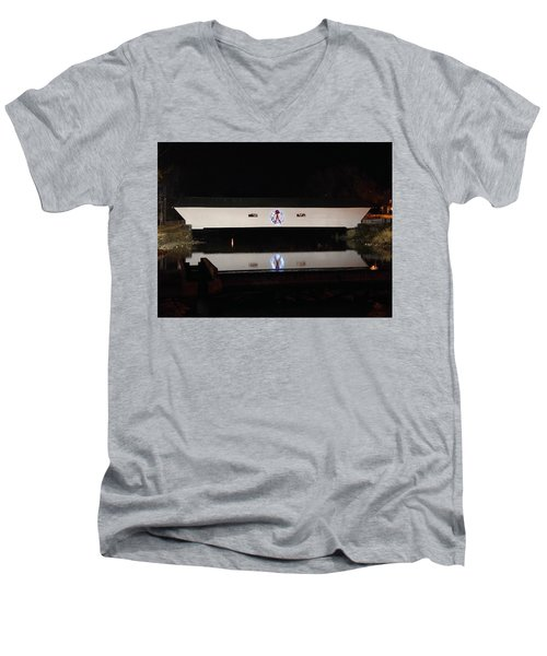 Christmas Covered Bridge Men's V-Neck T-Shirt