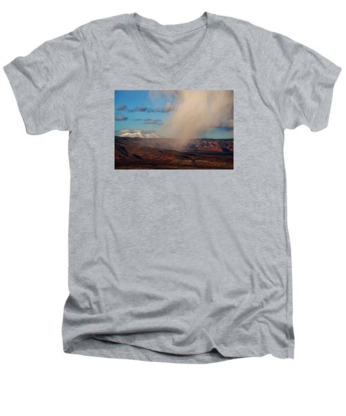 Men's V-Neck T-Shirt featuring the photograph Christmas Day Snow Mix San Francisco Peaks by Ron Chilston