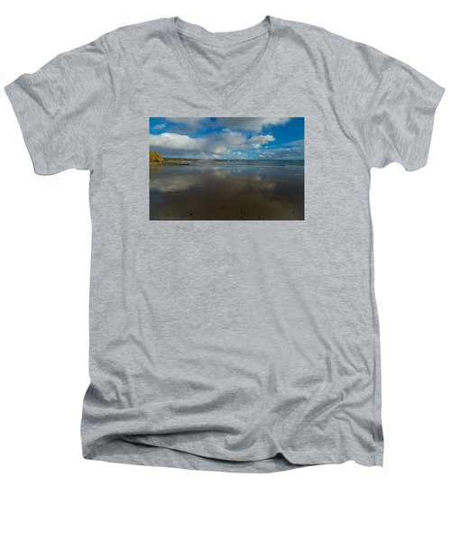 Men's V-Neck T-Shirt featuring the photograph Christmas Eve Early Gifts by Lora Lee Chapman