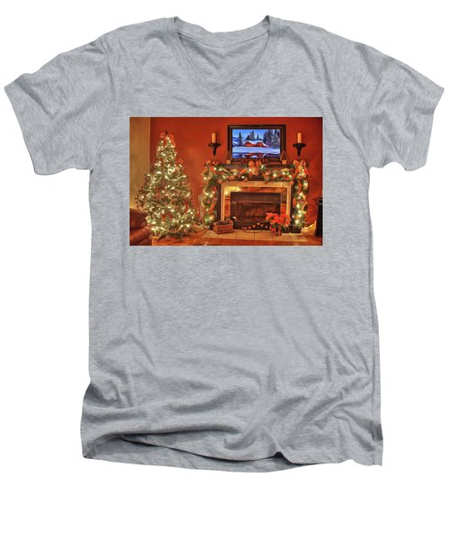 Men's V-Neck T-Shirt featuring the painting Christmas Fire by Harry Warrick
