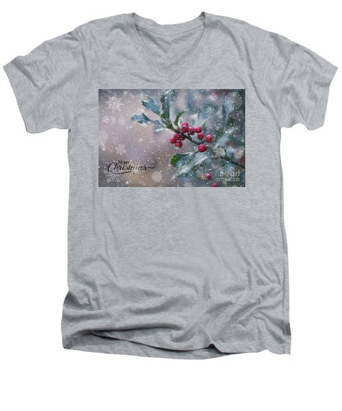 Christmas Holly Men's V-Neck T-Shirt