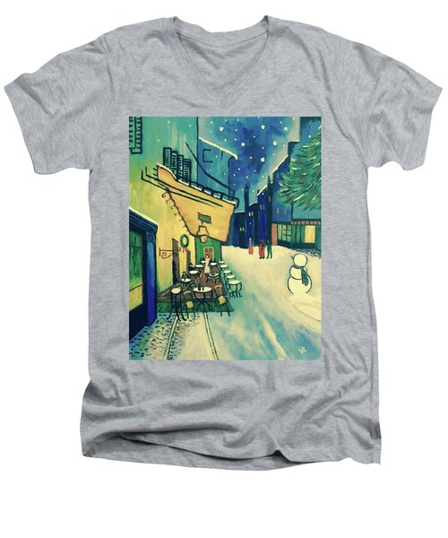 Men's V-Neck T-Shirt featuring the painting Christmas Homage To Vangogh by Victoria Lakes