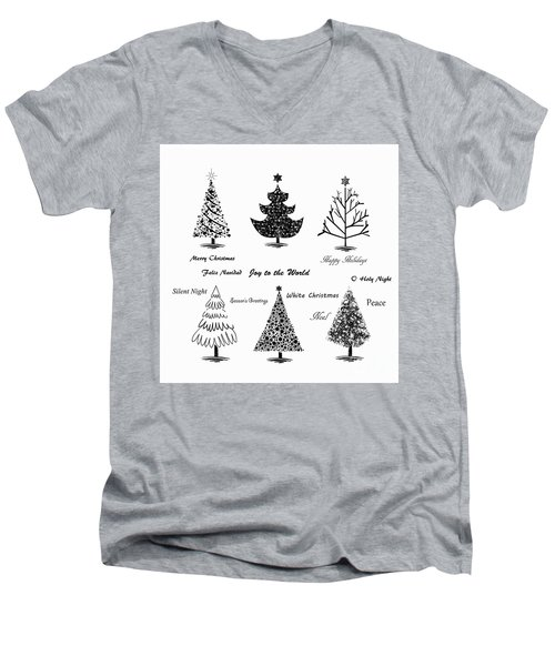 Men's V-Neck T-Shirt featuring the photograph Christmas Illustration by Stephanie Frey