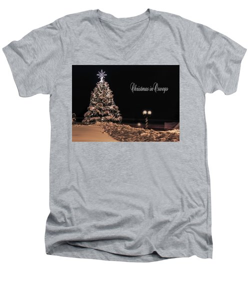 Men's V-Neck T-Shirt featuring the photograph Christmas In Oswego by Everet Regal