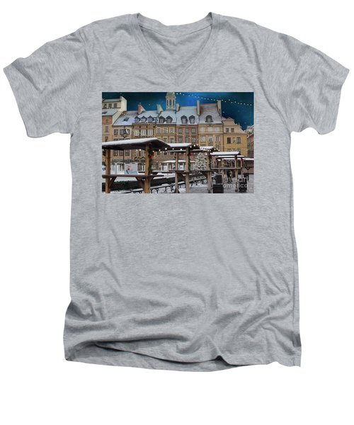 Men's V-Neck T-Shirt featuring the photograph Christmas In Warsaw by Juli Scalzi