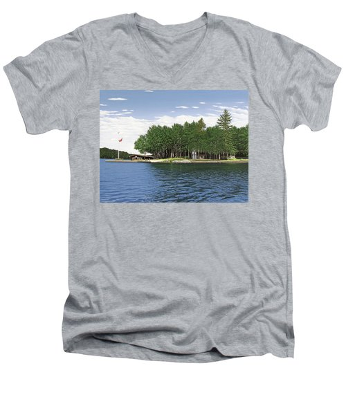 Men's V-Neck T-Shirt featuring the painting Christmas Island Muskoka by Kenneth M Kirsch