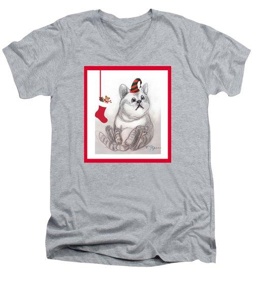 Christmas Kitty Men's V-Neck T-Shirt