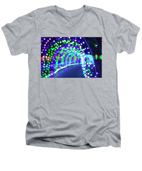 Christmas Lights Decoration Blurred Defocused Bokeh Men's V-Neck T-Shirt