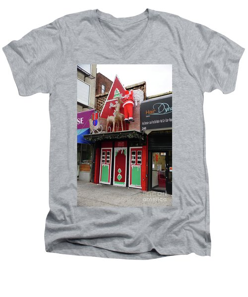 Men's V-Neck T-Shirt featuring the photograph Christmas On Sherman Avenue  by Cole Thompson